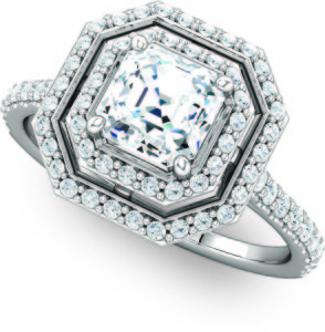 Double Halo Cushion Cut Octagon Engagement Molly's Jewelry Design and Repair