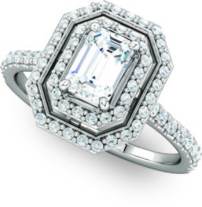 Double Halo Emerald Cut Octagon Engagement Molly's Jewelry Design and Repair 121992-5