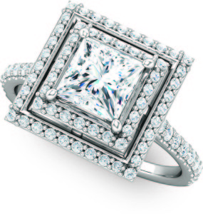 Double Halo Square Cut Engagement Molly's Jewelry Design and Repair 121992-4