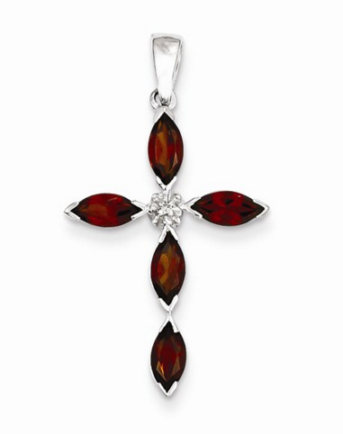 Garnet and diamond cross pendant molly's jewelry design and repair