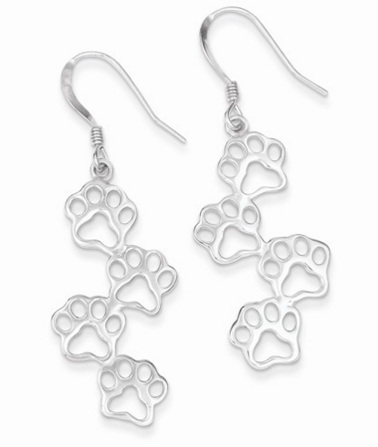 Paw Print Dangle Earrings Molly's jewelry design and repair