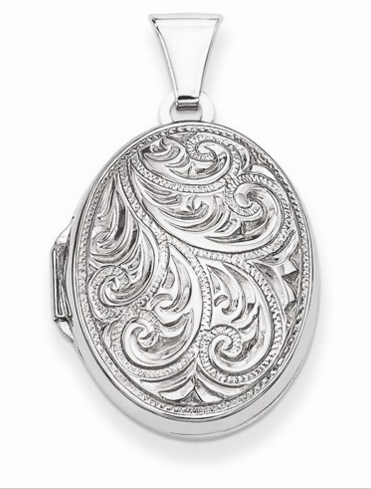 Sterling Silver Scroll Oval Locket Pendant Molly's Jewelry design and Repair