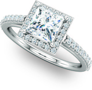 Vintage Princess Cut Shared Prong Halo Diamond Engagement Ring Molly's Jewelry Design and Repair